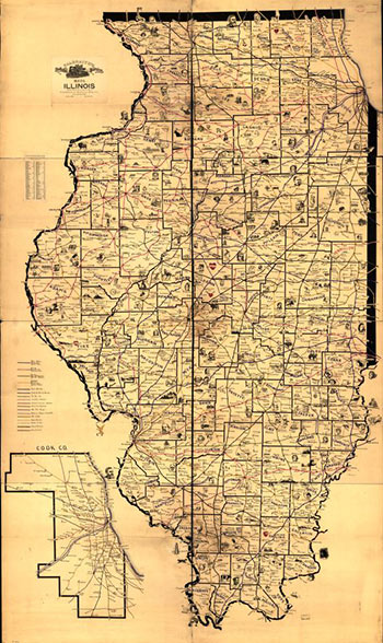 Galbraith's railway mail service maps, Illinois